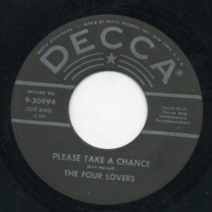 FOUR LOVERS, THE - Please Take A Chance / It May Be Wrong (SG,RE Decca )