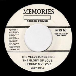 VELVETONES, THE - The Glory of Love (EP Memories )
